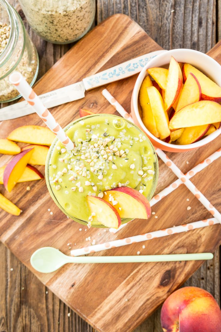 I've tried a few flavor combos but the one I've come to love the most is my mango peach green tea smoothie. Equal amounts of frozen mango and frozen peach...