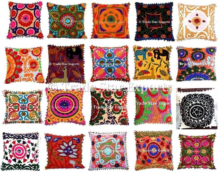 """Indian Vintage Suzani Pillow Cases 16X16"""" Embroidered Cotton Throw Cushion Cover #Handmade #ArtDeco"""