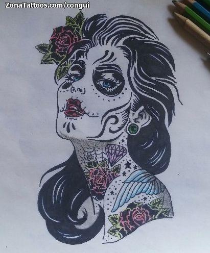 Dise o plantilla tatuaje catrinas tattoos pinterest - Tattoo disenos a color ...
