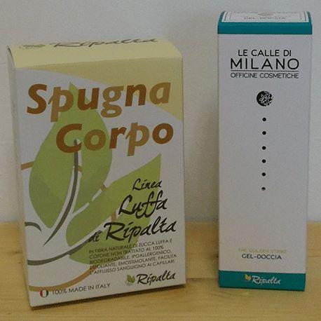 SPUGNA CORPO RIPALTA + GEL DOCCIA PLANERBE  Spugna Corpo di Luffa Cylindrica  Gel detergente dalla schiuma morbida e restitutiva http://linearipalta.com/prodotto/spugna-corpo-gel-doccia/