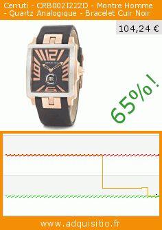 Cerruti - CRB002I222D - Montre Homme - Quartz Analogique - Bracelet Cuir Noir (Montre). Réduction de 65%! Prix actuel 104,24 €, l'ancien prix était de 299,00 €. https://www.adquisitio.fr/cerruti/crb002i222d-montre-homme