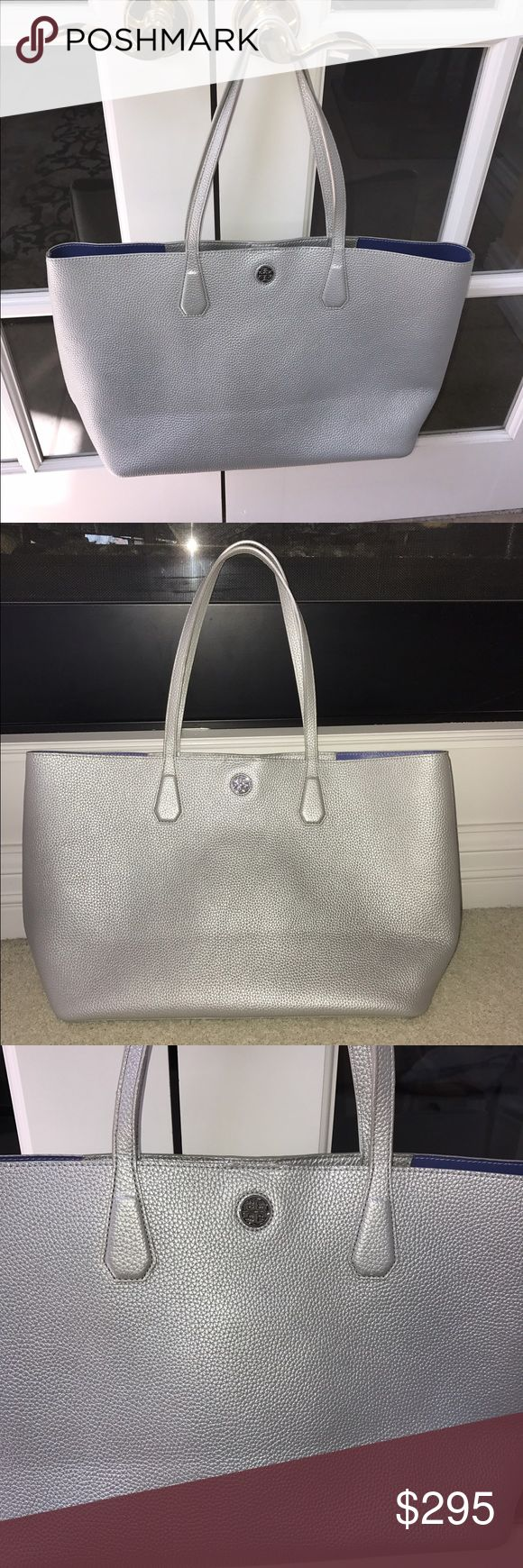 Tory Burch Perry Metallic Silver Tote Bag Tory Burch Metallic silver tote bag. NWOT. Does has one tiny scuff on front of bag shown in picture but hardly noticeable. Measurements 15 inches long x 11.5 inches high x 6 inches wide. 💕💕💕 Tory Burch Bags Totes