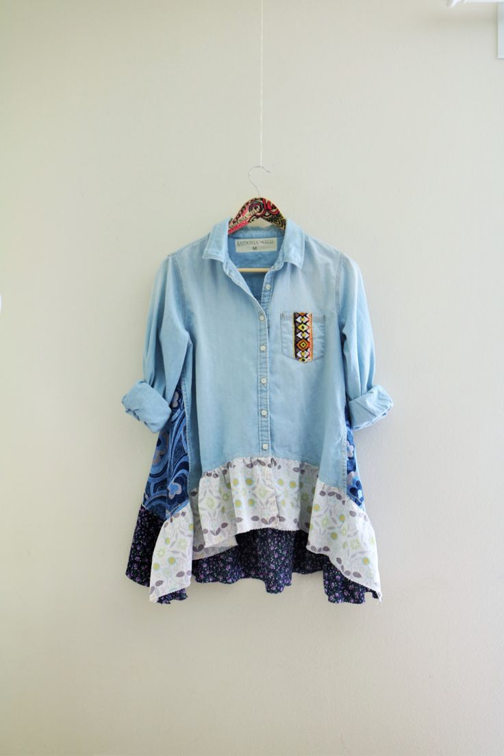 Hippie denim shirt Lagenlook upcycled clothing Women's boho chic tunic Eco clothes Prairie girl country cottage shabby jacket SaidoniaEco by SaidoniaEco on Etsy https://www.etsy.com/listing/236835840/hippie-denim-shirt-lagenlook-upcycled