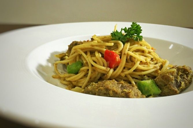 Spaghetti with Mung Bean Curry Sauce  Spaghetti cooked with Indonesian style curry. Authentic taste that suitable for your dinner! Read more about the recipe in the blog.