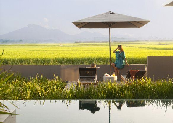 #Alila #Soori - Aan de rand van uw eigen zwembad, in dit geval met uitzicht over de felgroene rijstvelden, kunt u genieten van een vers sapje of lichte snack. Uw butler bedient u op uw wenken!