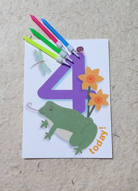 4th birthday card frog card perfect for the by LuckJudgementCards