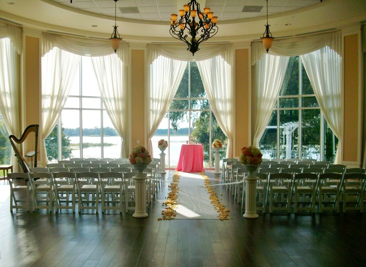 Wedding ceremony in the Rotunda at the Lake Mary Events Center, Florida. Beautiful wedding venue with lake view and a variety of ceremony locations. #harpist #harp #music #musician #Orlando