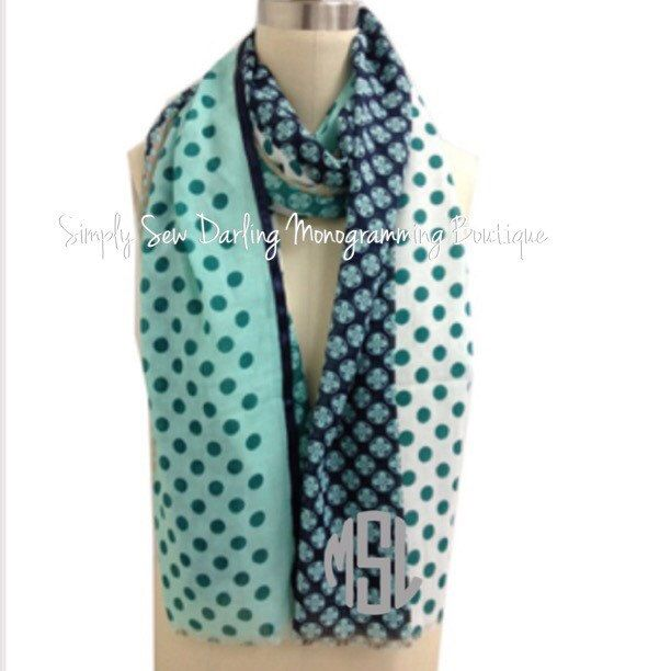 Monogrammed Embroidered Mint and Navy Polka Dots Scarf by SimplySewDarling on Etsy