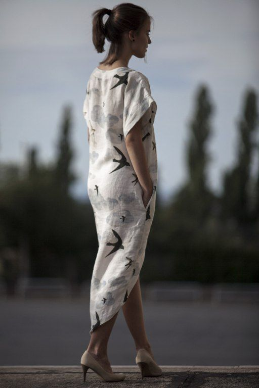Swallows Long summer dress by Jain&Kriz. Print and pattern. Cool and comfortable. 100% linen.