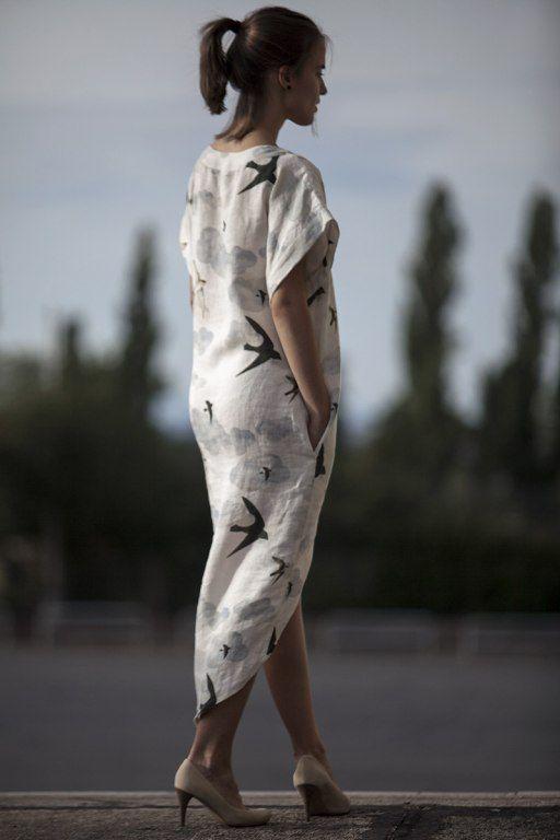 Swallows Long Dress by Jain&Kriz. 100% linen.