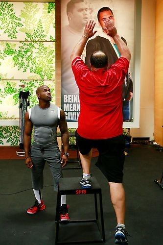 Joe works up a sweat with step-ups. #BiggestLoser