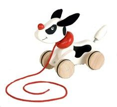 Pintoy Pull Along Puppy - gorgeous wooden dog with a tail that wags when pulled along