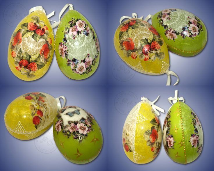 The plastic Easter eegs, 14cm, decorated using decoupage method. Decorations are made on the inside part of the eggs.