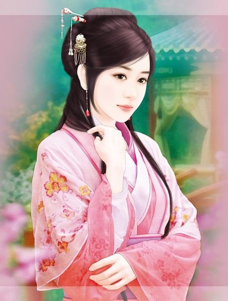 chinese art.... Pretty in Pink !