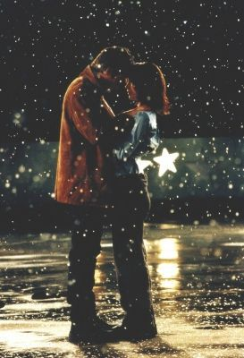 """Serendipity""......when she tossed the glove into the air and it fell onto him,  while he was lying on the ice rink.I <3 this movie."