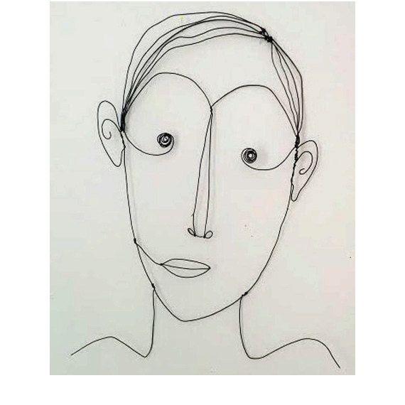 Grand homme est un très charmant visage de lhomme de la sculpture décorative.    Ce visage est sculpté avec amour du fil de fer noir, extrêmement