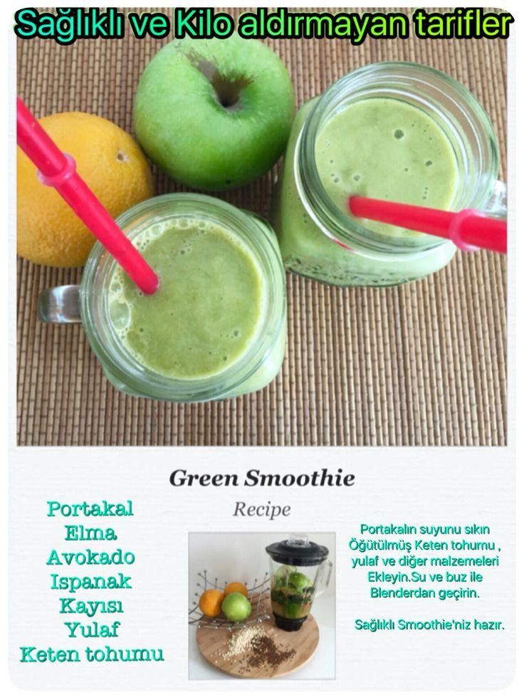Green smoothie, sağlıklı ve kilo aldırmayan bir kahvaltı seçeneği. Üstelik uzun süre tok tutuyor ve avokado ile ıspanak tadını hiç hissetmiyorsunuz. Malzeme Miktarları 1 portakal suyu Yarım elma ve avokado 4-5 adet kayısı 4-5 yaprak ıspanak 1 yemek kaşığı yulaf 1 yemek kaşığı keten tohumu 1 bardak su ve buz