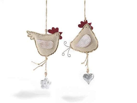 Decorative Hen With Pendant Set of 2