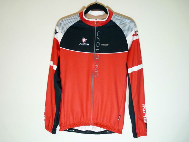 Nalini red long sleeve cycling jersey maillot velo - Made in Italy - Large