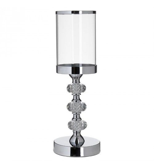 METAL_GLASS CANDLE HOLDER IN SILVER D11X32