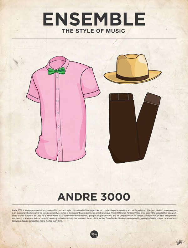 """""""EveryGuyed presents 'Ensemble: The Style of Music' a series of posters featuring Iconic Outfits from 20 Male Musicians. Designed by Glenn Michael of Moxy Creative House, and illustrated by James Alexander the prints are available"""""""