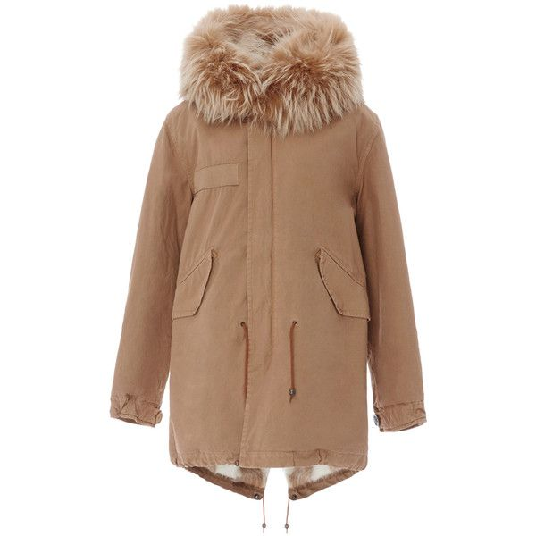 Mr & Mrs Italy     Old School Checked Lining Parka ($2,085) via Polyvore featuring outerwear, coats, tan, tan coat, parka coats, fur hood parka, beige coat and fur hood coat