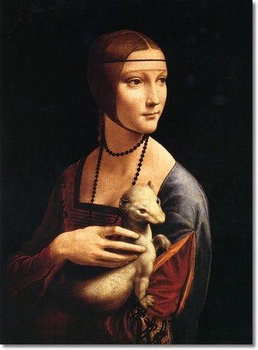 """""""Senhora com um Arminho"""" - Pintura de Leonardo Da Vinci - 1483"""
