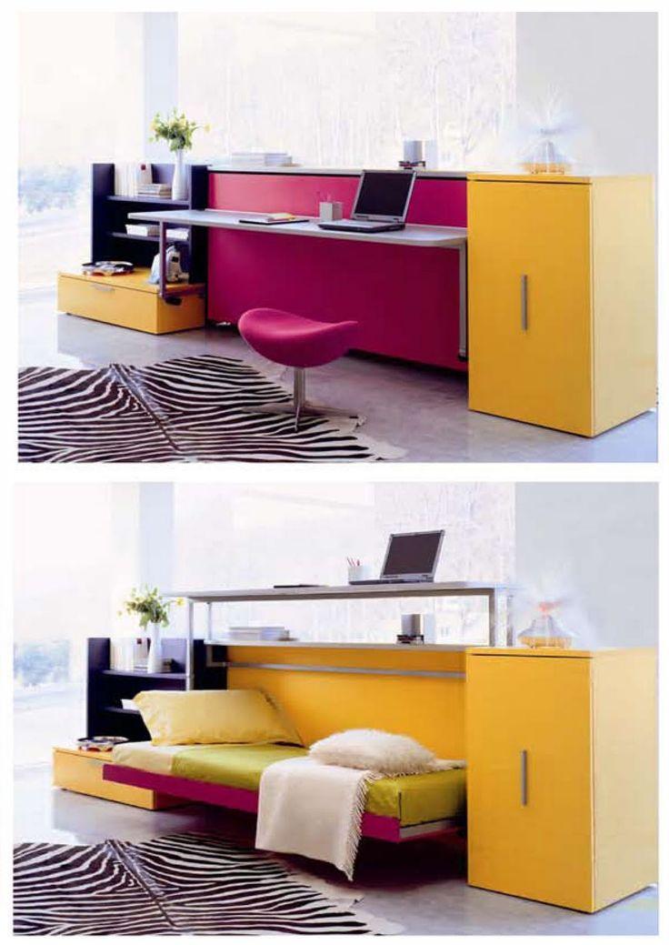 Camas abatibles juveniles para espacios reducidos cool - Cama escondida en mueble ...