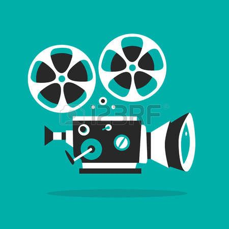58220811-retro-filmprojector-poster-cartoon-vector-illustratie-cinema-film-filmprojector-met-filmspoelen.jpg (450×450)
