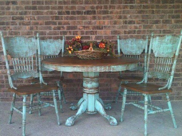 I don't like the blue, but if we keep our table we could look at a french white shabby chic? I like keeping the table top wood.