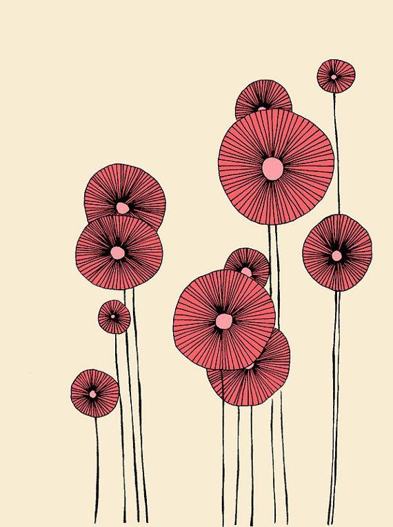 Poppy Flowers Illustration Print by UlaBazaar on Etsy