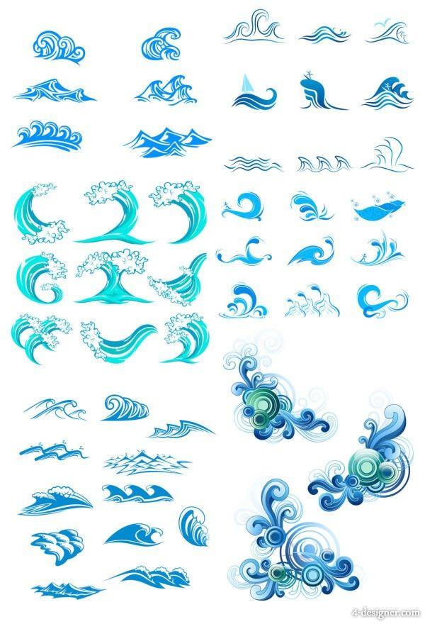 抽象的に描かれた波のイラスト素材集です。 クリップアート的に使ったり、ロゴデザインの参考にもなり…