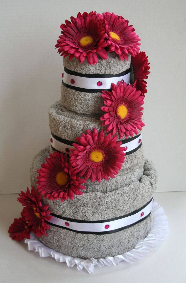 Fuchsia Gerber Daisy Towel Cake for a Bridal Shower