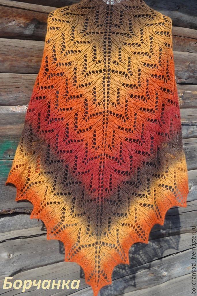 Купить Шаль Рябинка ажурная спицами в интернет магазине на Ярмарке Мастеров