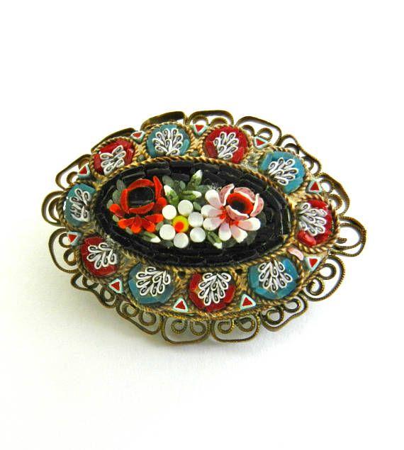 Vintage Italian Grand Tour Floral  micro mosaic Oval
