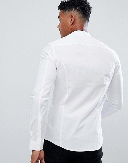 03ca3355 DESIGN skinny shirt in white with grandad collar in 2019   Shirts ...