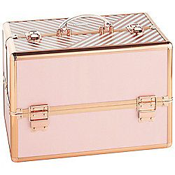 Beautify Large Striped Blush Pink Lockable Vanity Make Up Beauty Storage Case