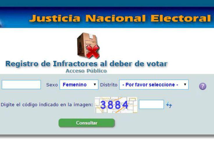 Habilitan un registro de infractores que no votaron en elecciones pasadas Cada elector pueda verificar si se encuentra asentado como infractor