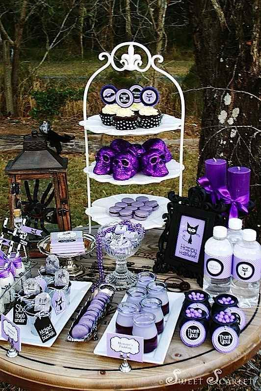 57 Cool Purple Halloween Décor Ideas: Purple Halloween Décor With Outdoor Dining Table And Purple Candle Glass Flower Lantern Bones Ornament And Courtyard View – Momtoob