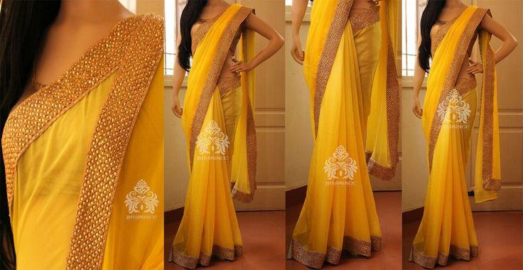 Pastel yellow to dark yellow shaded pure silk chiffon Saree