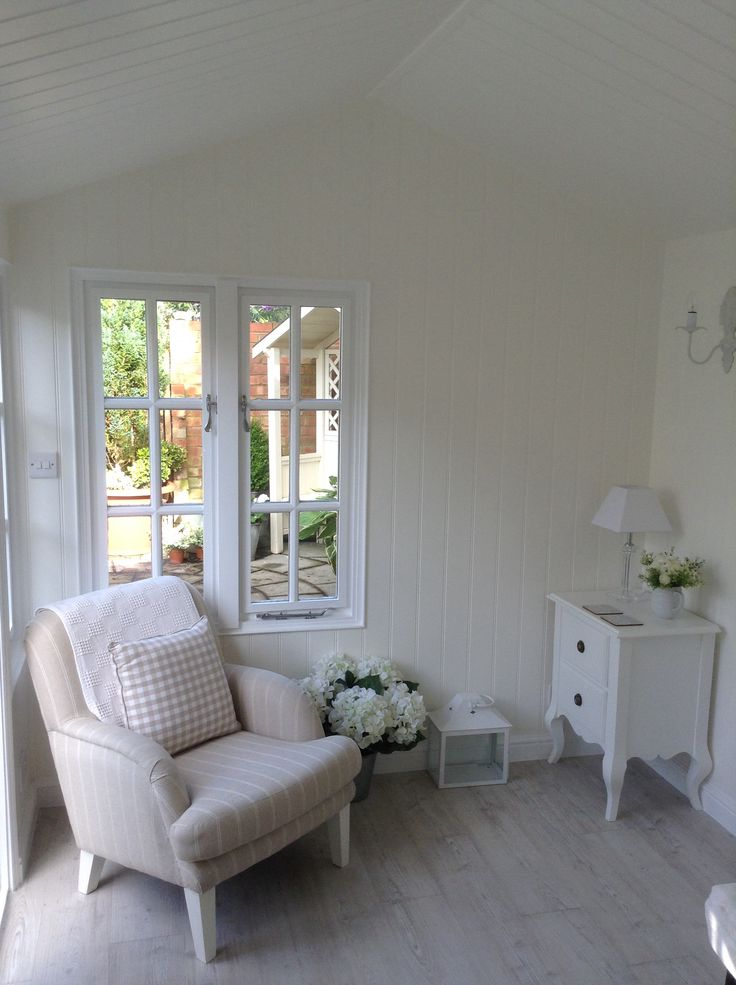 Inside the new Summerhouse, palest of walls in a soft white on MDF tongue and groove, installed by Stuart and team at Copperwood Construction. Little chest of drawers from Scumble Goosie