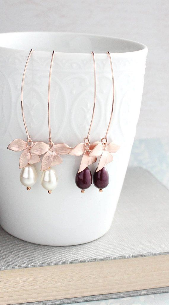 Rose Gold Orchid Earrings Flower Dangle Earrings Long Wire Berry Burgundy Maroon Pearl Bridemaids Gi Rose Gold Drop Earrings Gold Orchid Pink Jewelry