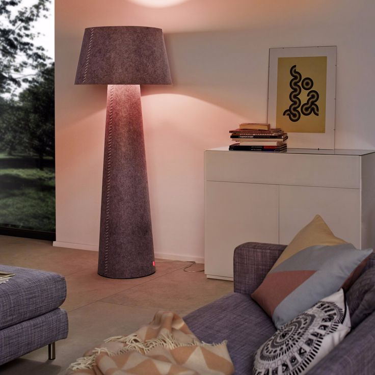 The Playful Alice Floor Lamp By German Lighting Brand Moree Provides A Warm  Atmosphere With The Diffused Glow Emanating From Its Grey Felt Shade And  Base.