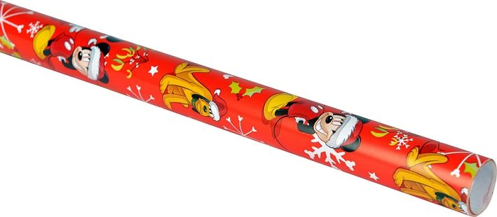 Julpapper Disney Musse Pigg och Pluto, kraftigt papper 2 m, 3104772, rött röd, juldekorationer, julpynt, julklappsinslagning, paketinslagning, omslagspapper, presentpapper