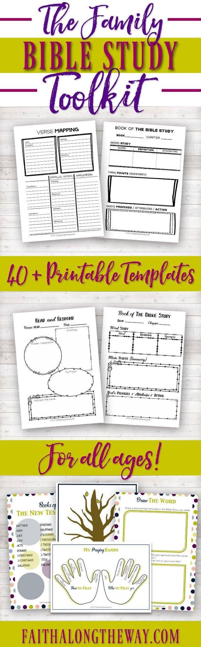 The Family Bible Study Toolkit|Bible Study|Printable|Women's|Kid's|Bible Journaling Templates|Men's|Guide