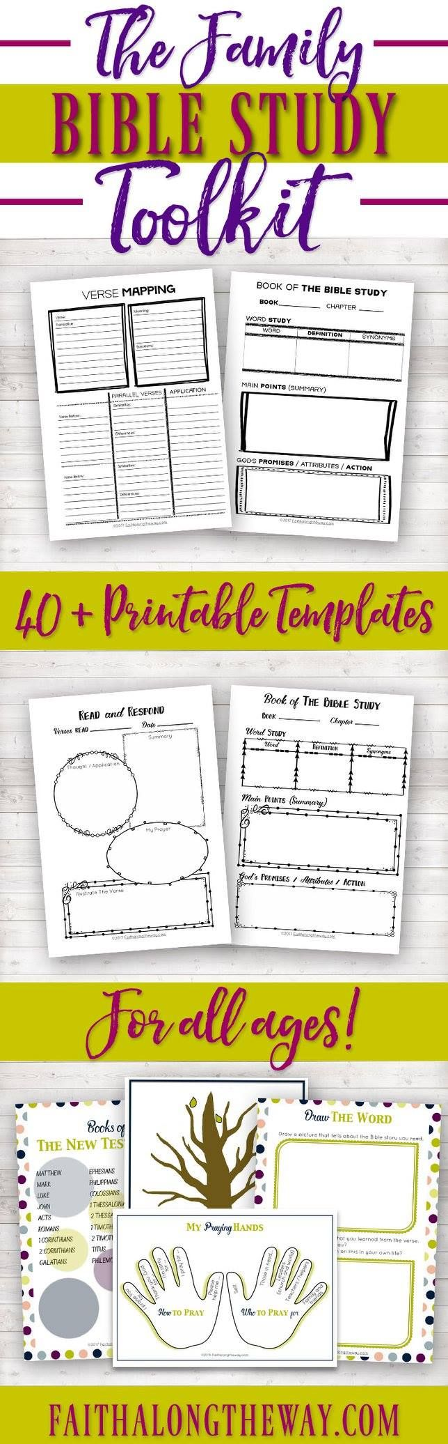 The Family Bible Study Toolkit|Bible Study|Printable|Women's|Kid's|Bible Journaling Templates|Men's|Guide