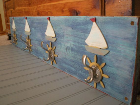 Nautical Coat Rack In Shades Of Blue With By Paintedcottagedesign, $59.00 Part 95