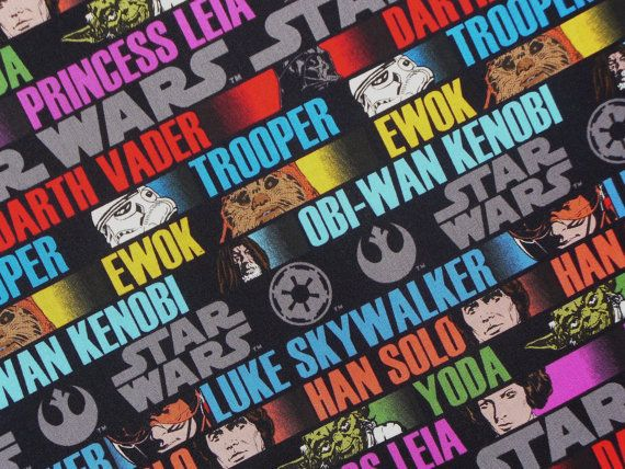 Star Wars fabric with the Characters names~Luke, Yoda, Leia, Clone Trooper Darth, just to name a few! Plus their pictures by their names.