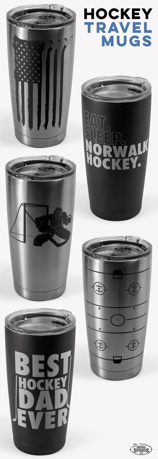 Our engraved hockey travel mugs have original designs, and many can be personalized for a unique hockey gift that includes a player name and number, team name, or other text - and all are designed and insulated for both hot and cold drinks.