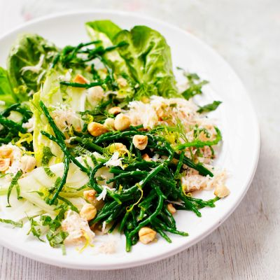 Crab and samphire salad